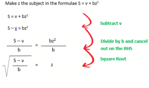 Changing the subject of a formula example 5.1
