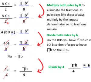 Changing the subject of a formula wordproblem d.3